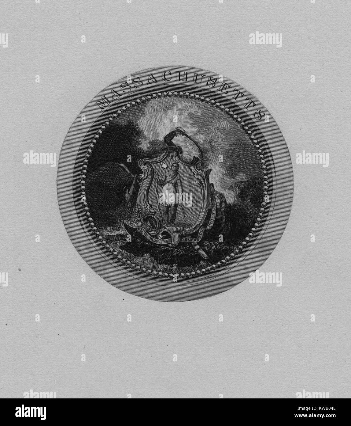 Engraving of an early version of the Seal of Massachusetts, 1850. From the New York Public Library. - Stock Image