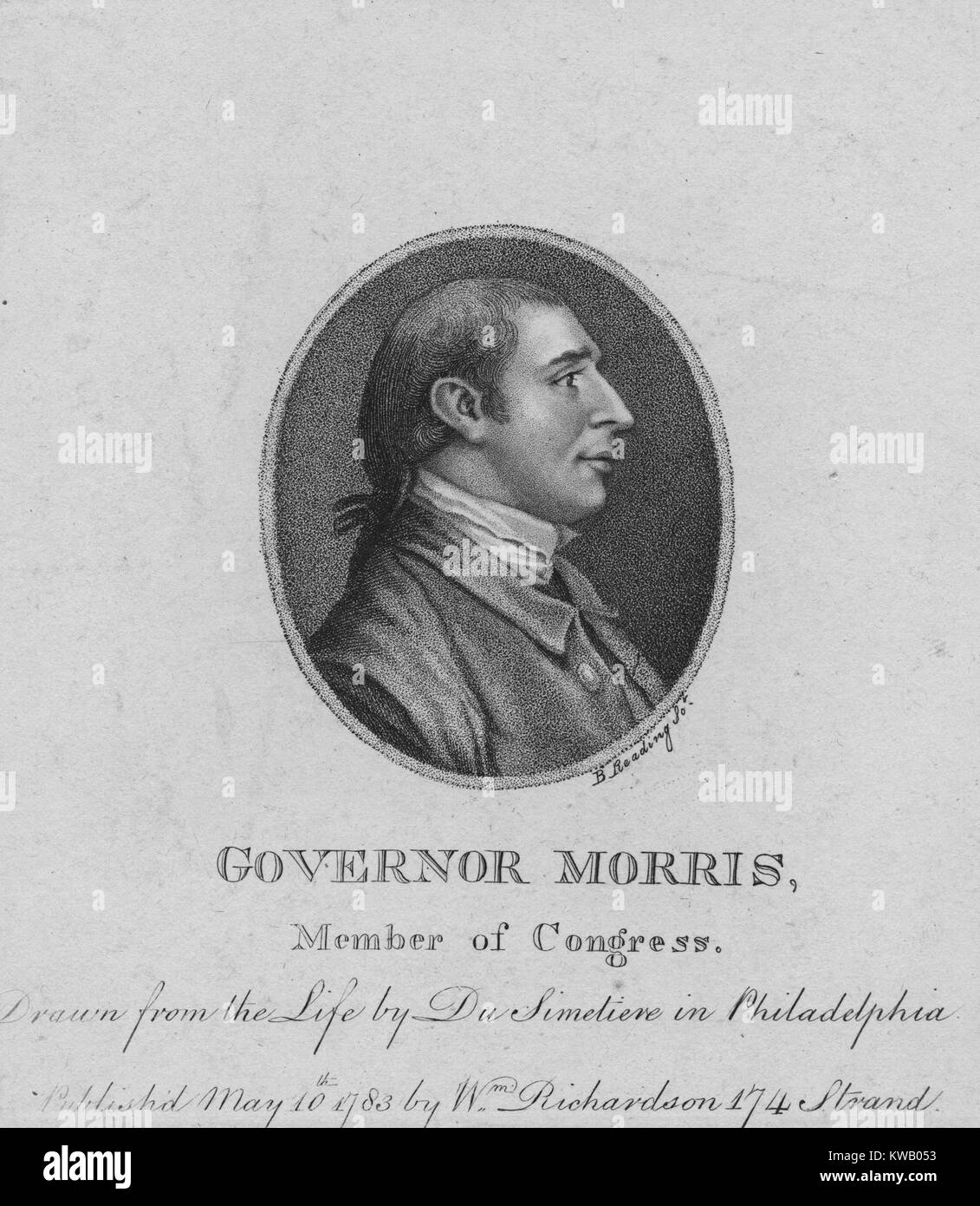 Engraved portrait of Gouverneur Morris, Founding Father and United States Senator who is known for his significant - Stock Image