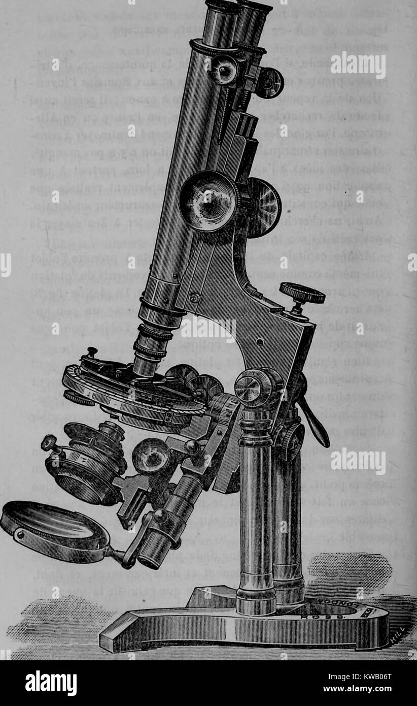Engraved image of an early microscope, showing various lenses and mirrors, 1883. Courtesy Internet Archive. - Stock Image