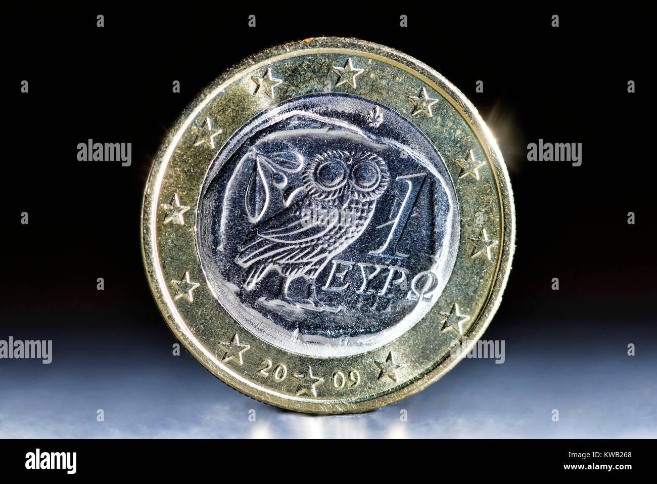 Greek euro-coin one, Griechische Ein-Euro-M?nze, Griechische Ein-Euro-Muenze - Stock Image