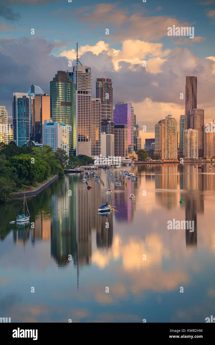 Brisbane. Cityscape image of Brisbane skyline, Australia during sunrise. - Stock Image