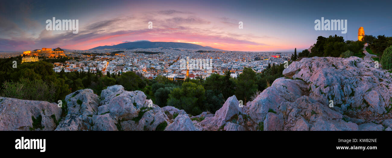 View of Acropolis from Filopappou hill at sunrise, Greece. Stock Photo
