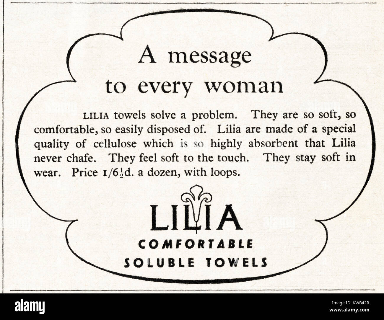 1940s old vintage original advert advertising Lilia sanitary towels in magazine circa 1947 when supplies were still - Stock Image