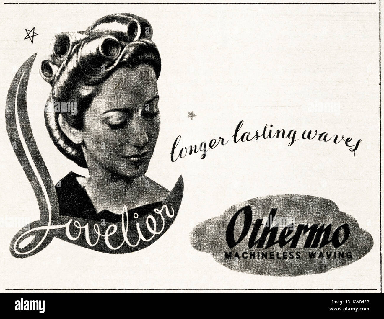 1940s old vintage original advert advertising Othermo machinless waving for ladies hair in magazine circa 1947 when - Stock Image