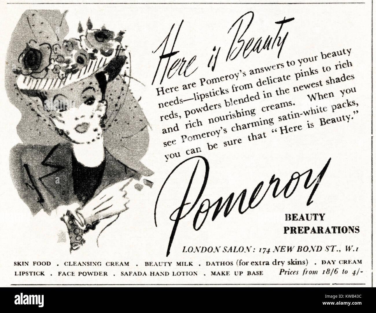 1940s old vintage original advert advertising Pomeroy cosmetics & makeup in magazine circa 1947 when supplies - Stock Image