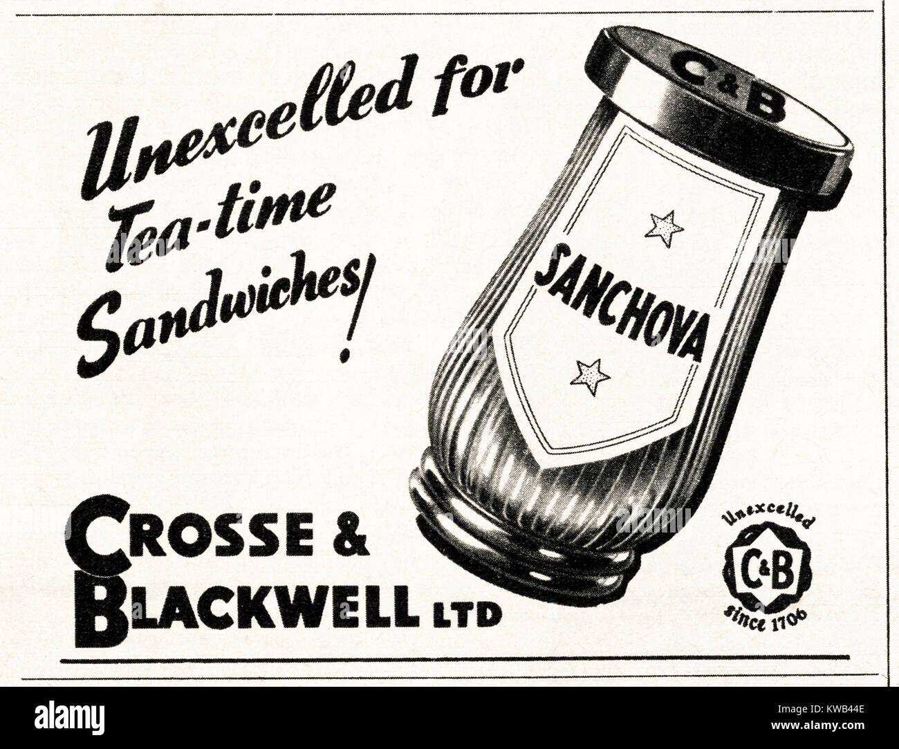 1940s old vintage original advert advertising Crosse & Blackwell Sanchova sandwich spread in magazine circa - Stock Image