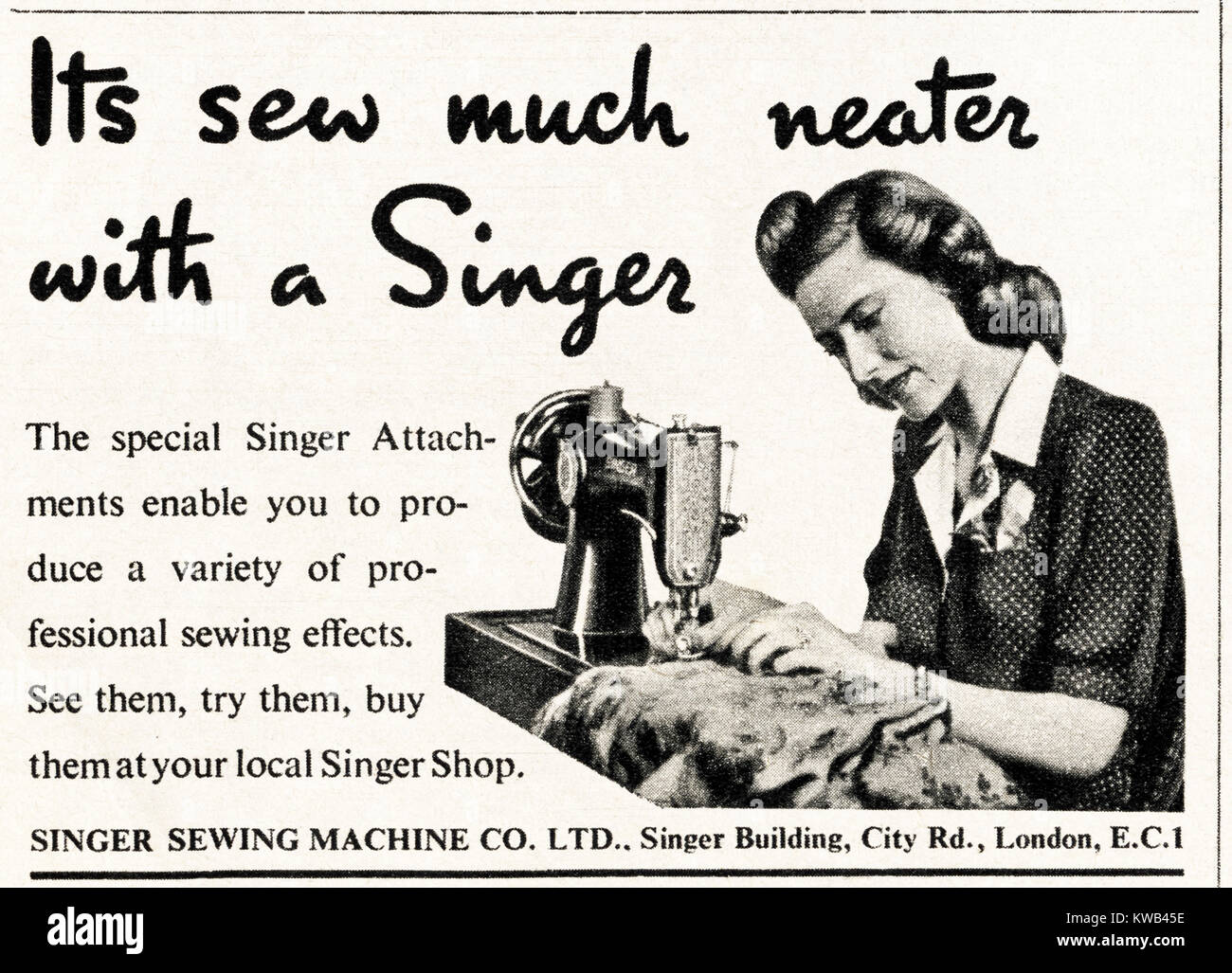 1940s old vintage original advert advertising Singer Sewing Machines in magazine circa 1947 when supplies were still - Stock Image