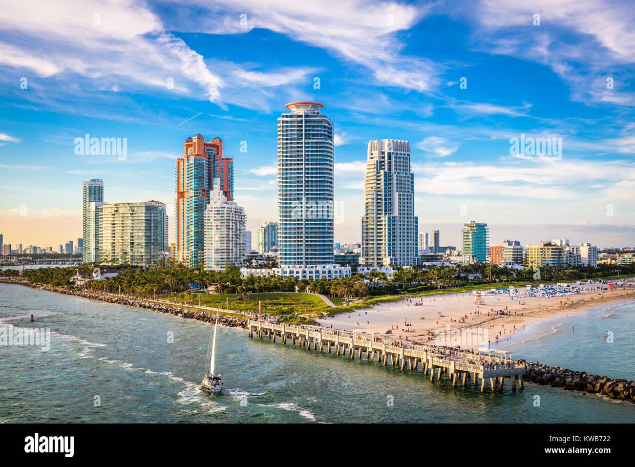 South Beach, Miami, Florida, USA over South Pointe Park. - Stock Image