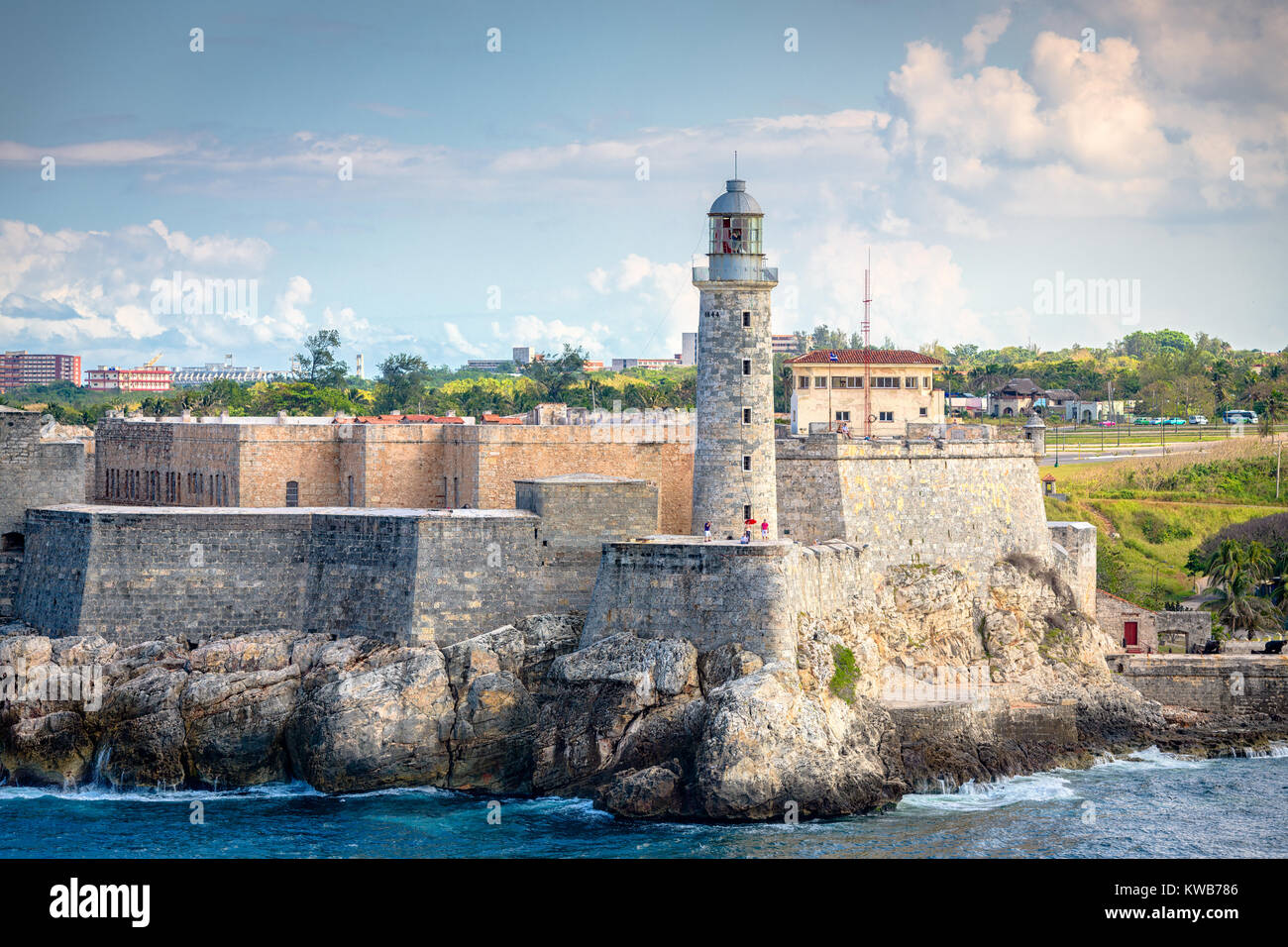 Havana, Cuba light house of La Cabana Fort. - Stock Image