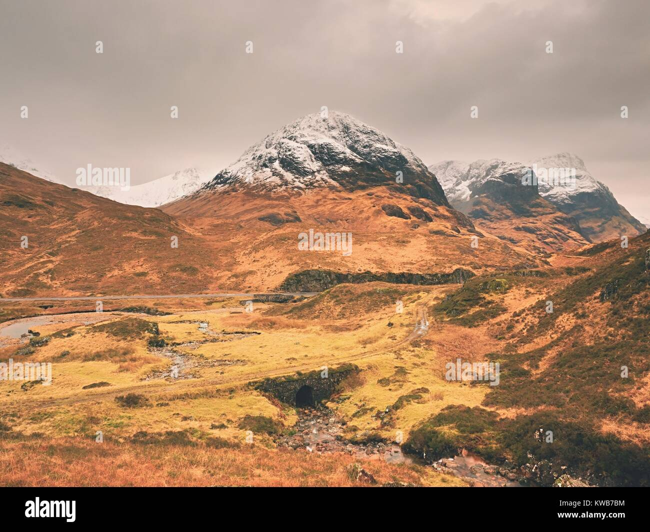 The rough mountain stream in the mountains. Snowy cone of mountain in clouds. Dry grass and heather bushes on banks - Stock Image