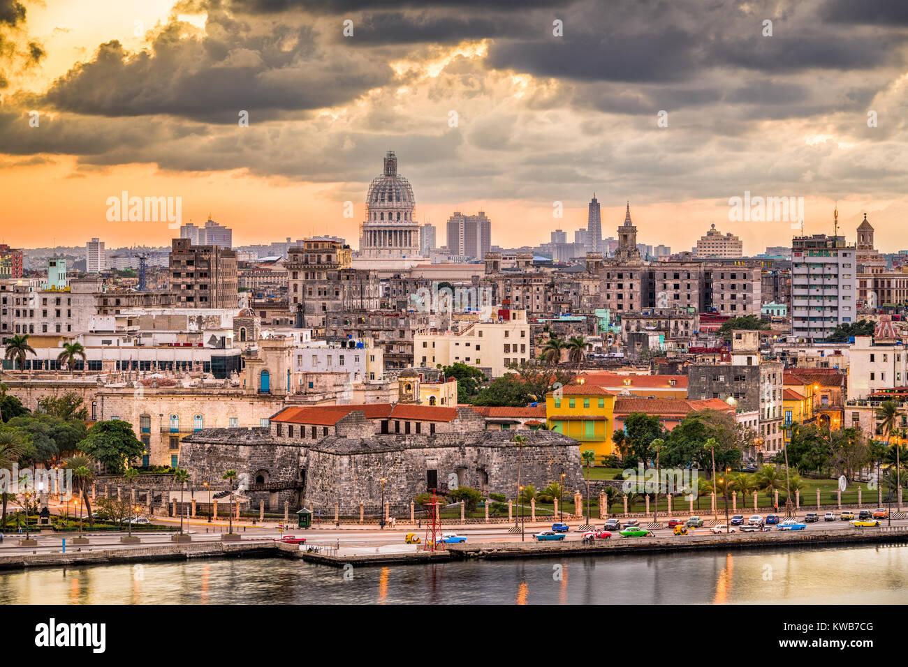 Havana, Cuba old town skyline. - Stock Image