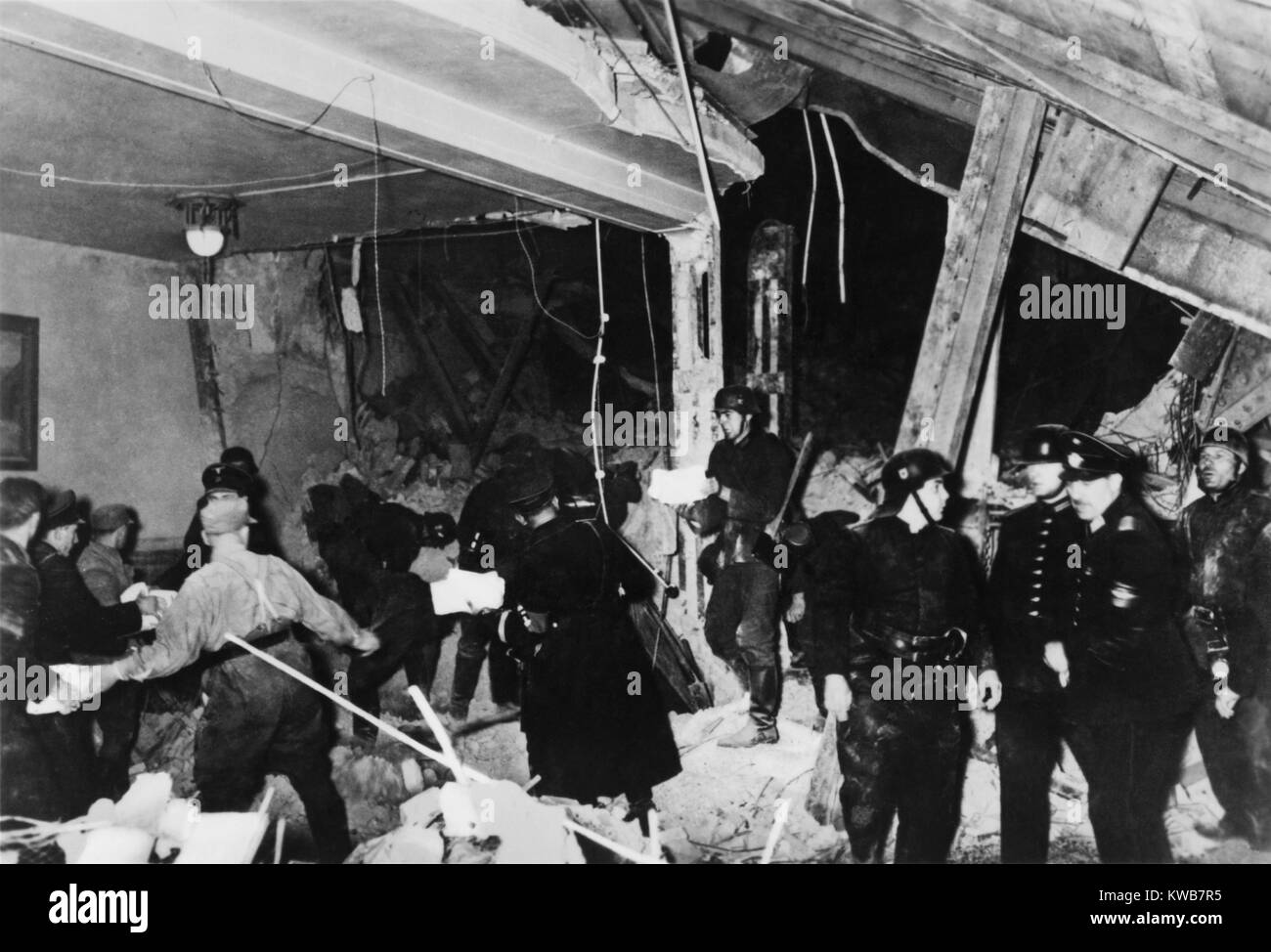 Ruins after the assassination attempt on Hitler by 42-year-old Johann Georg Elser. The time bomb explosion at the - Stock Image