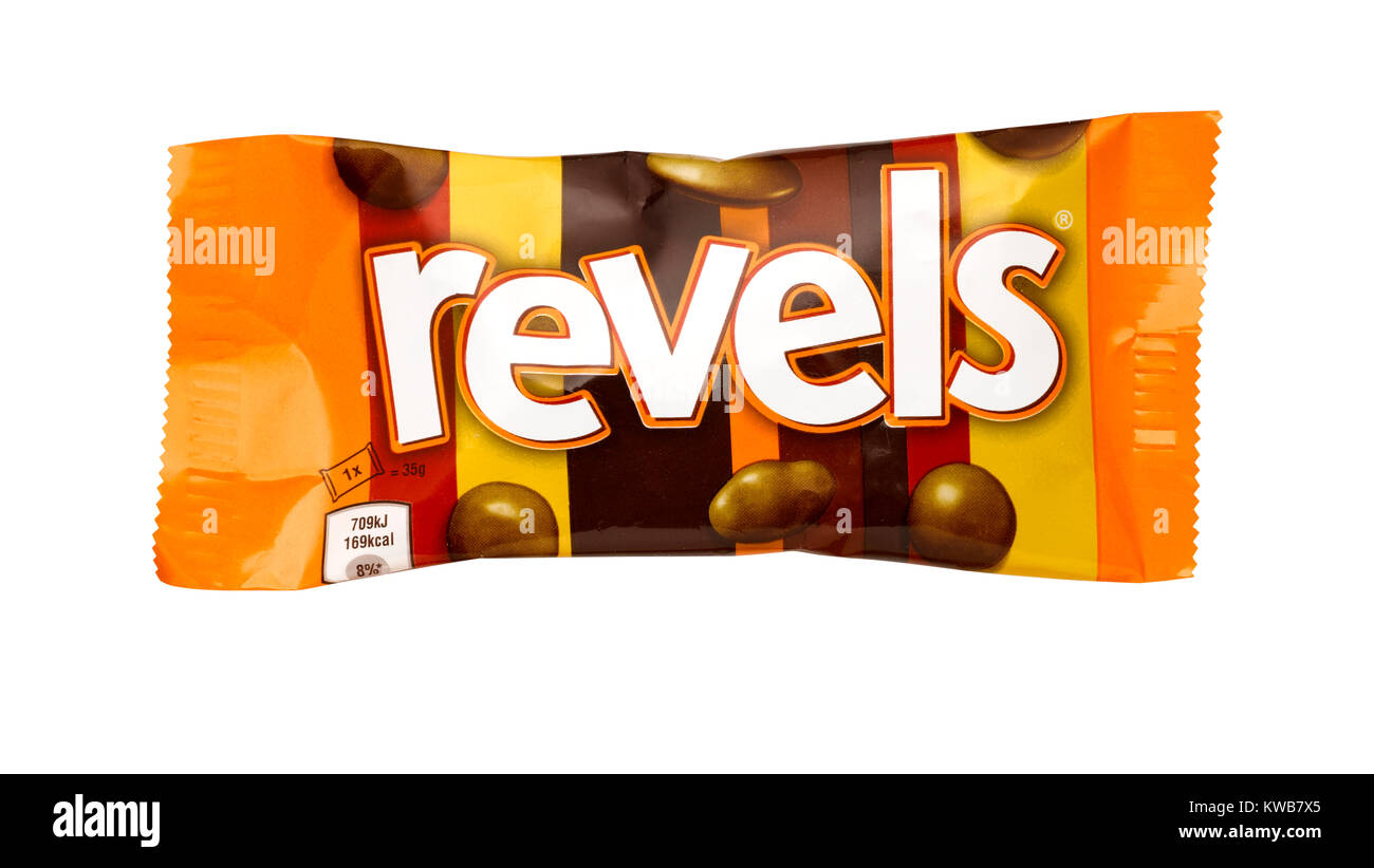 A cut out shot of a bag of Revels - Stock Image