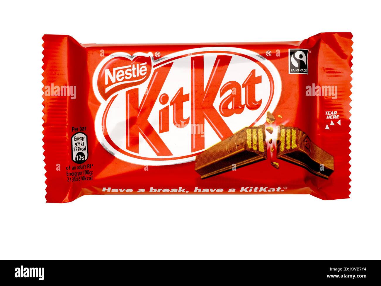 A cut out shot of a chocolate Kit Kat - Stock Image