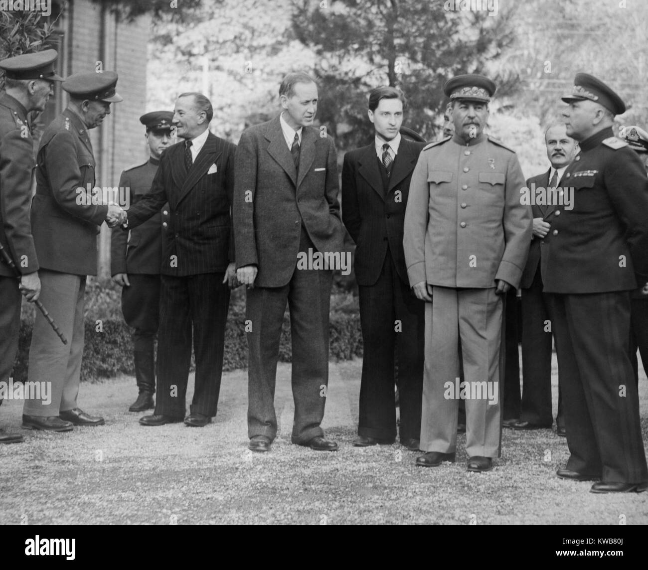 Allied leaders and delegates at the Teheran Conference. Dec. 1943. Outside the Russian Embassy, L-R: Gen. George Stock Photo
