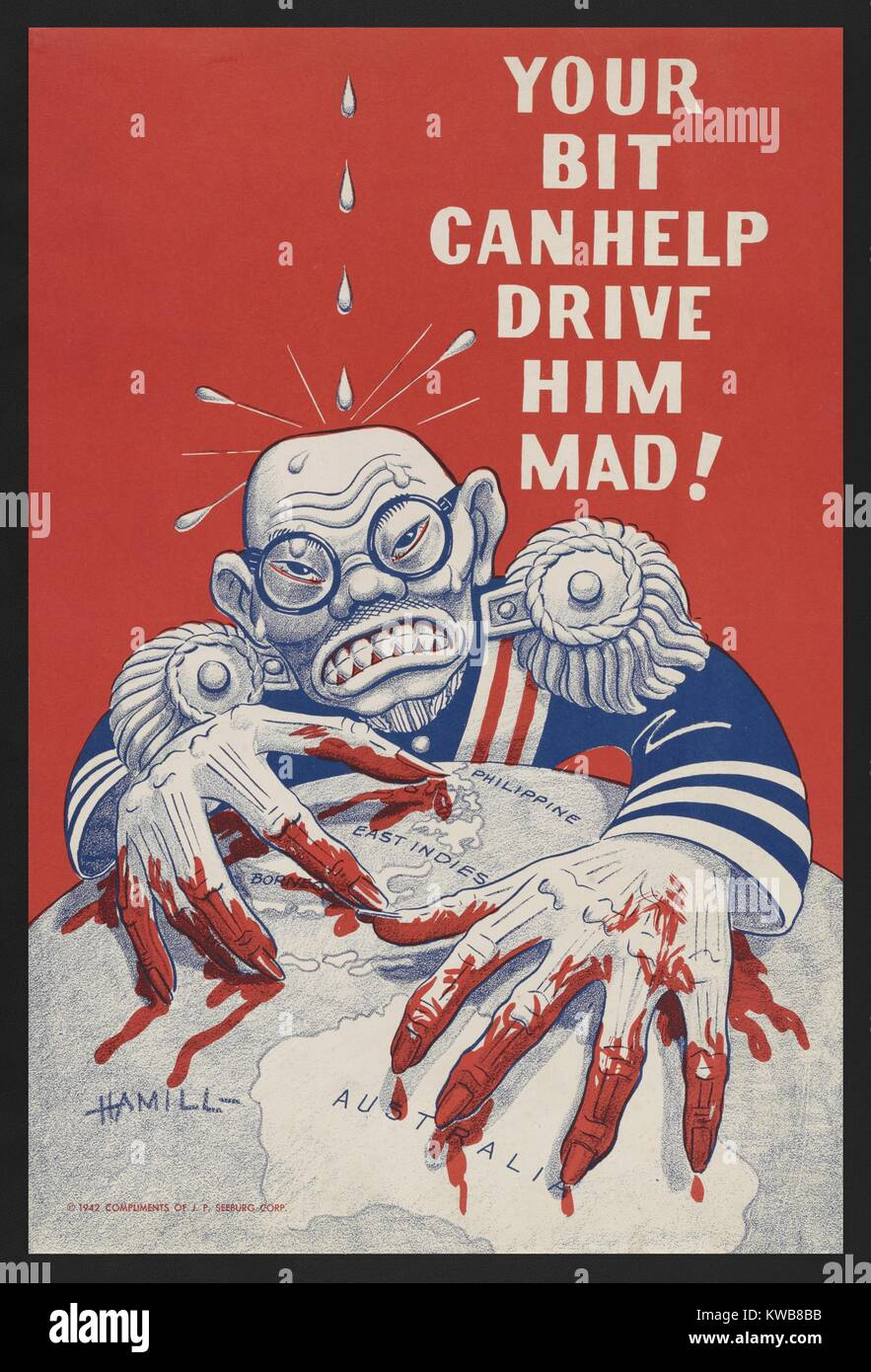 Caricature of Emperor Hirohito with bloody fingers grasping on a globe as water drips on his head. The U.S. World Stock Photo