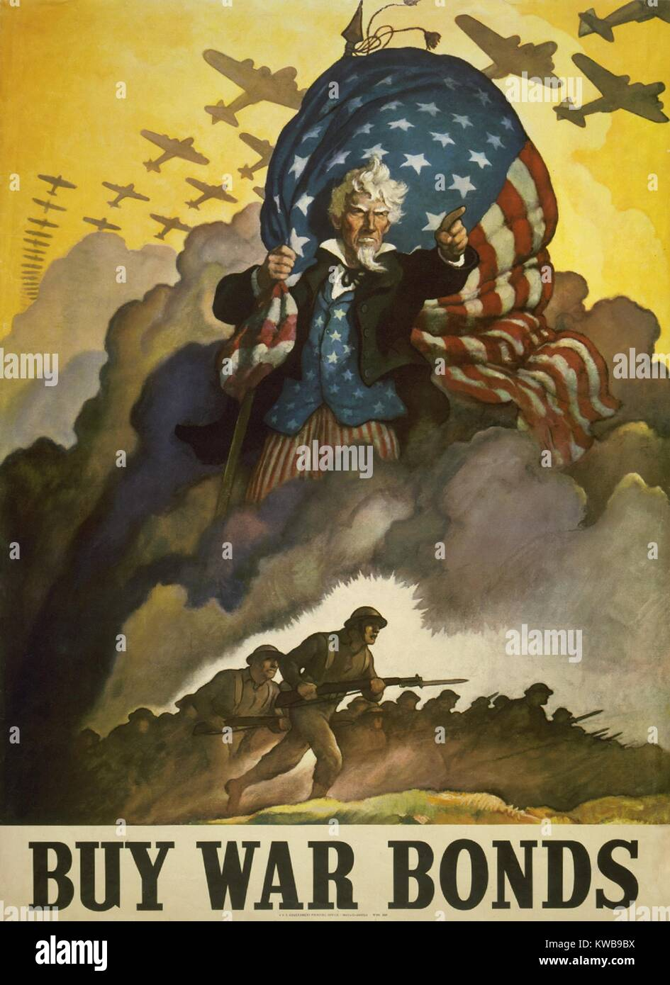 'Buy War Bonds.' World War 2 poster of Uncle Sam. He holds a U.S. flag and points his finger as fighting - Stock Image