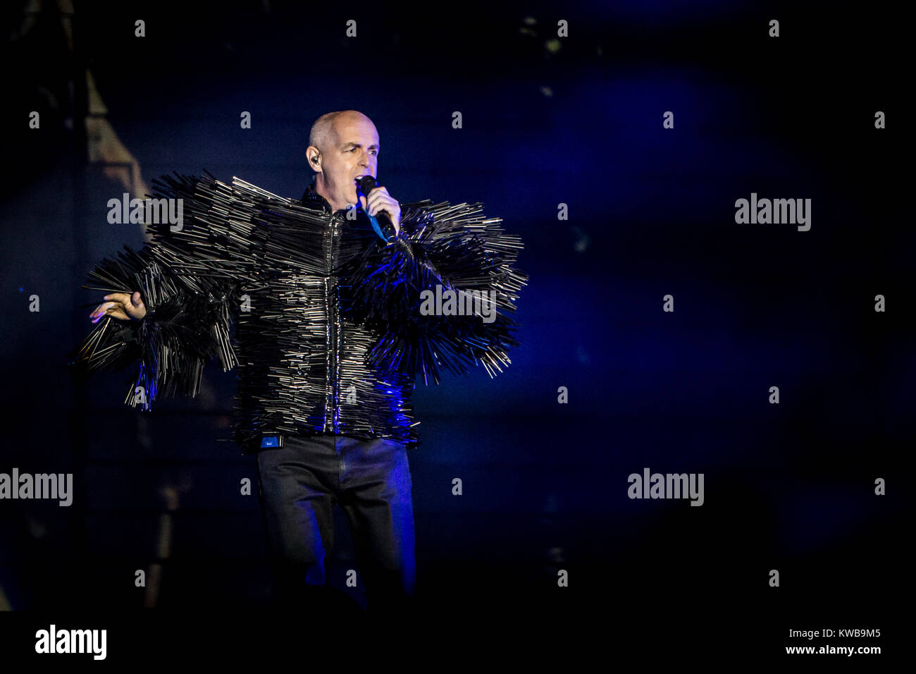 The English electronic pop and house duo Pet Shop Boys consists of the two musicians Neil Tennant (pictured) and - Stock Image