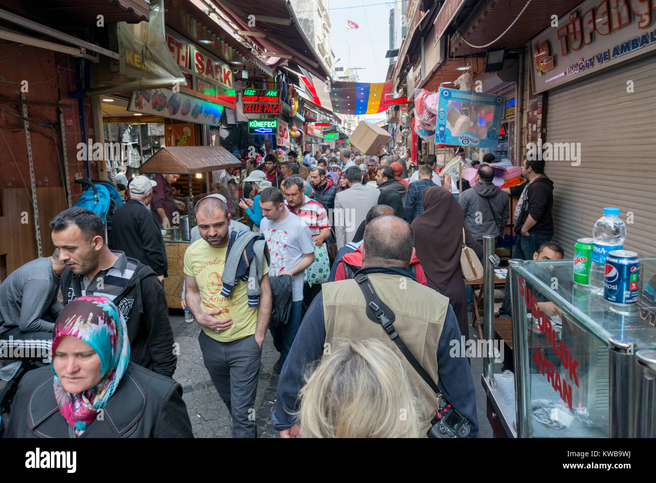 APRIL 27,2014 ISTANBUL TURKEY.Tahtakale is the one of the big public bazaars in Istanbul province. Stock Photo