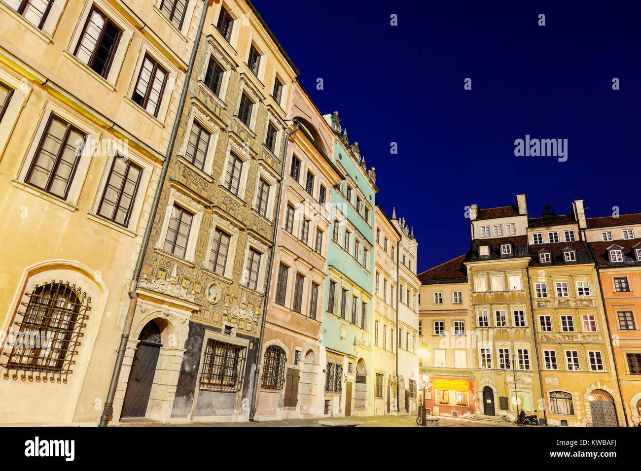 Market Place Old Town evening time. Warsaw, Poland - Stock Image