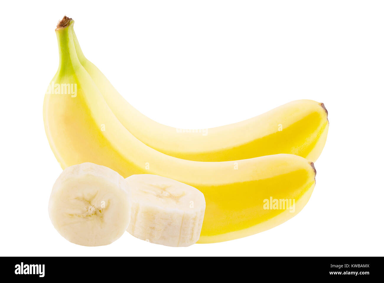 Isolated banana. Two whole fresh banana and trhee slices on white background with clipping path - Stock Image