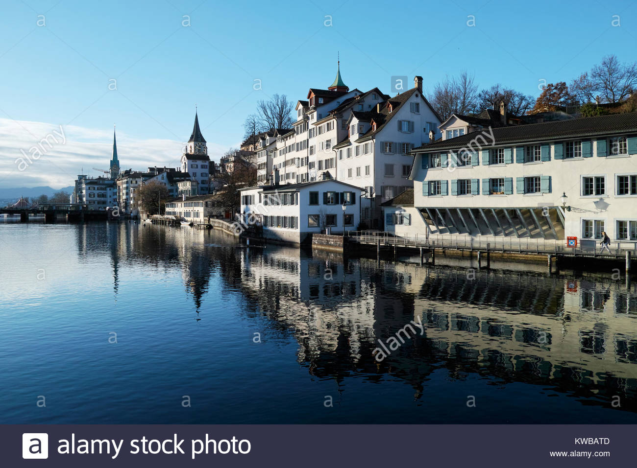 Cityscape of Zurich Old Town reflected in the Limmat river.  Switzerland. - Stock Image