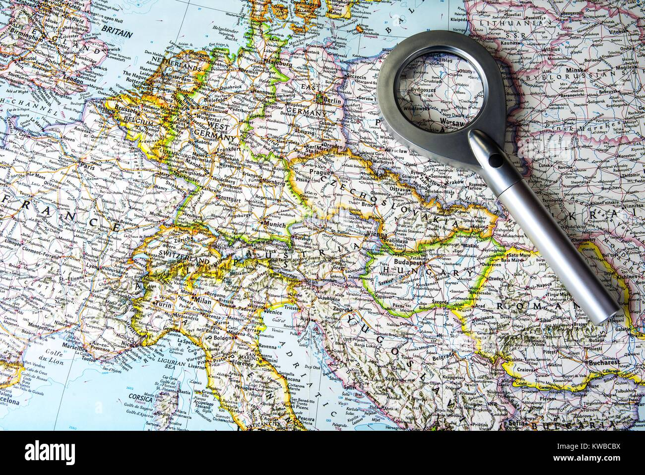 Map Of East West Germany.Old Central Europe Map With East And West Germany Stock Photo