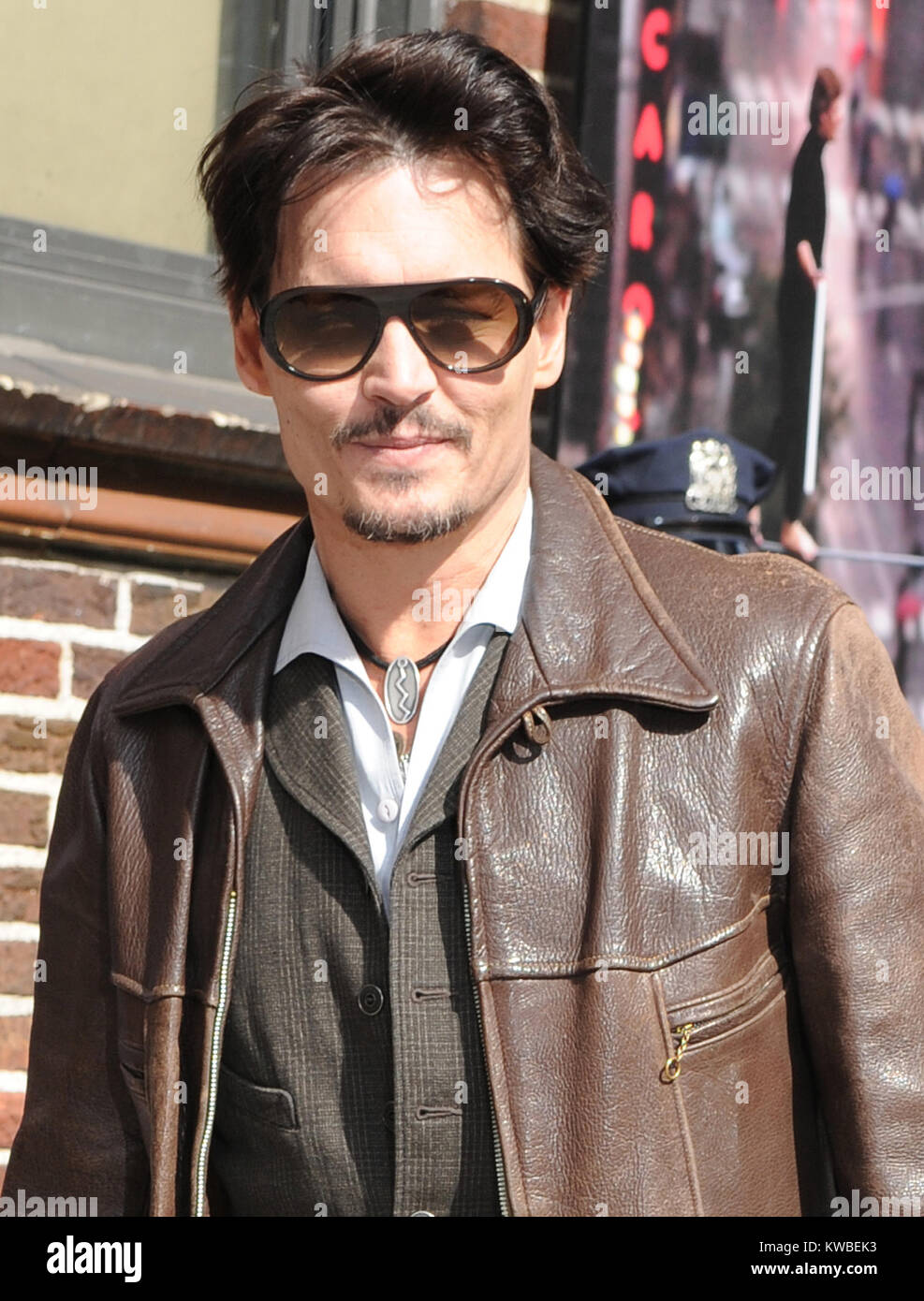 NEW YORK, NY - APRIL 03: Johnny Depp enters the 'Late Show With David Letterman' taping at the Ed Sullivan - Stock Image
