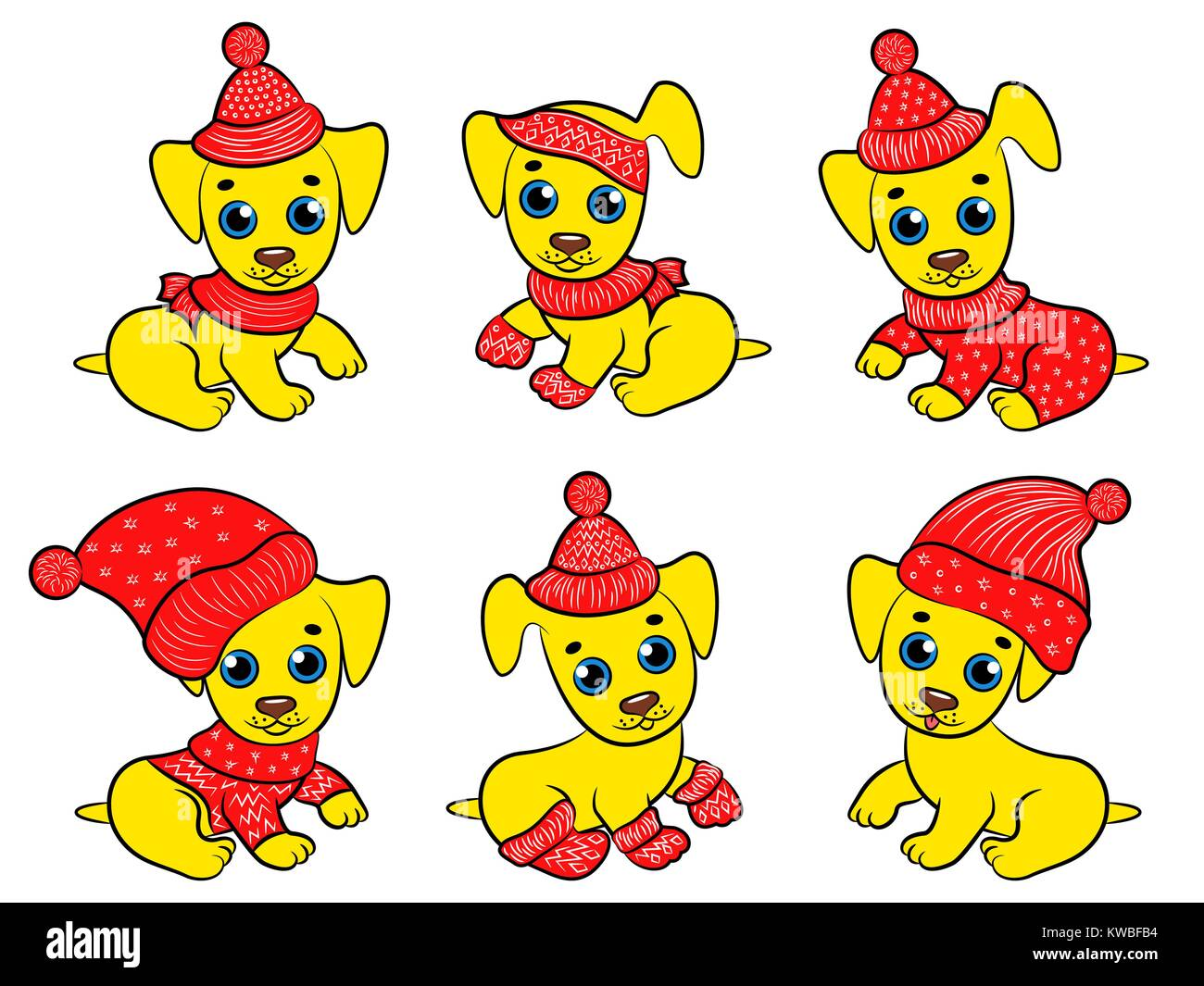 Set of six amusing yellow pappies in Santa clothes isolated on the