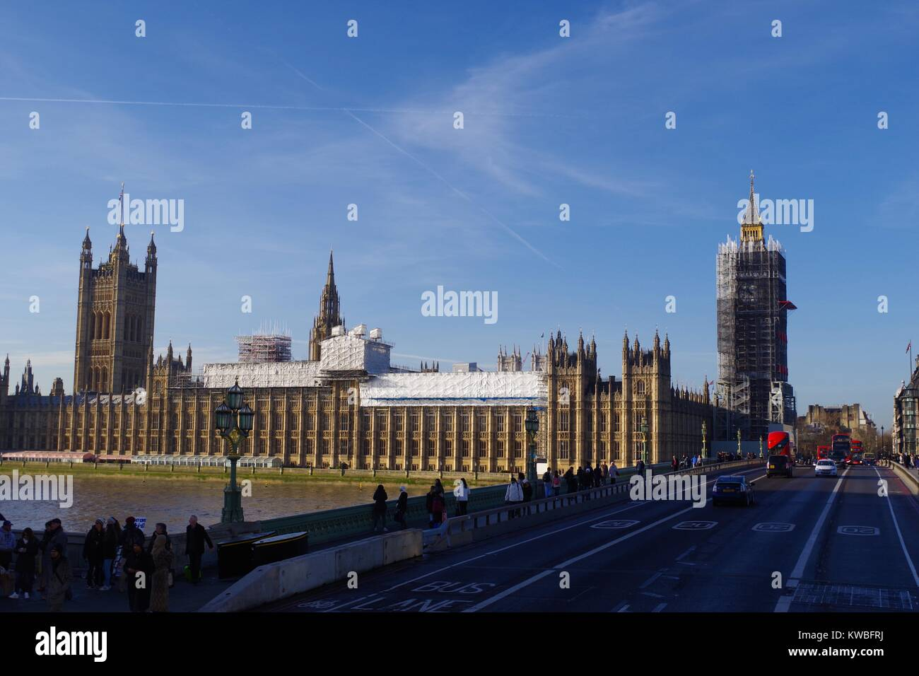 The Palace of Westminster, Elizabeth Tower Under Scaffolding, From Southbank Looking Along Westminster Bridge. - Stock Image