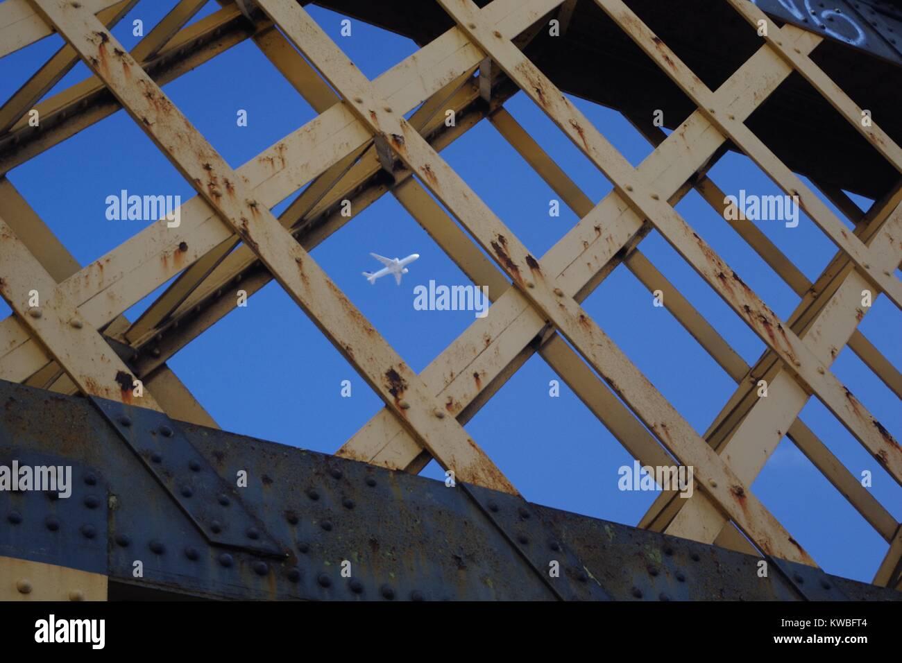 Cast Iron Waterloo Railway Line Bridge, Diamon Structure Framing a ...