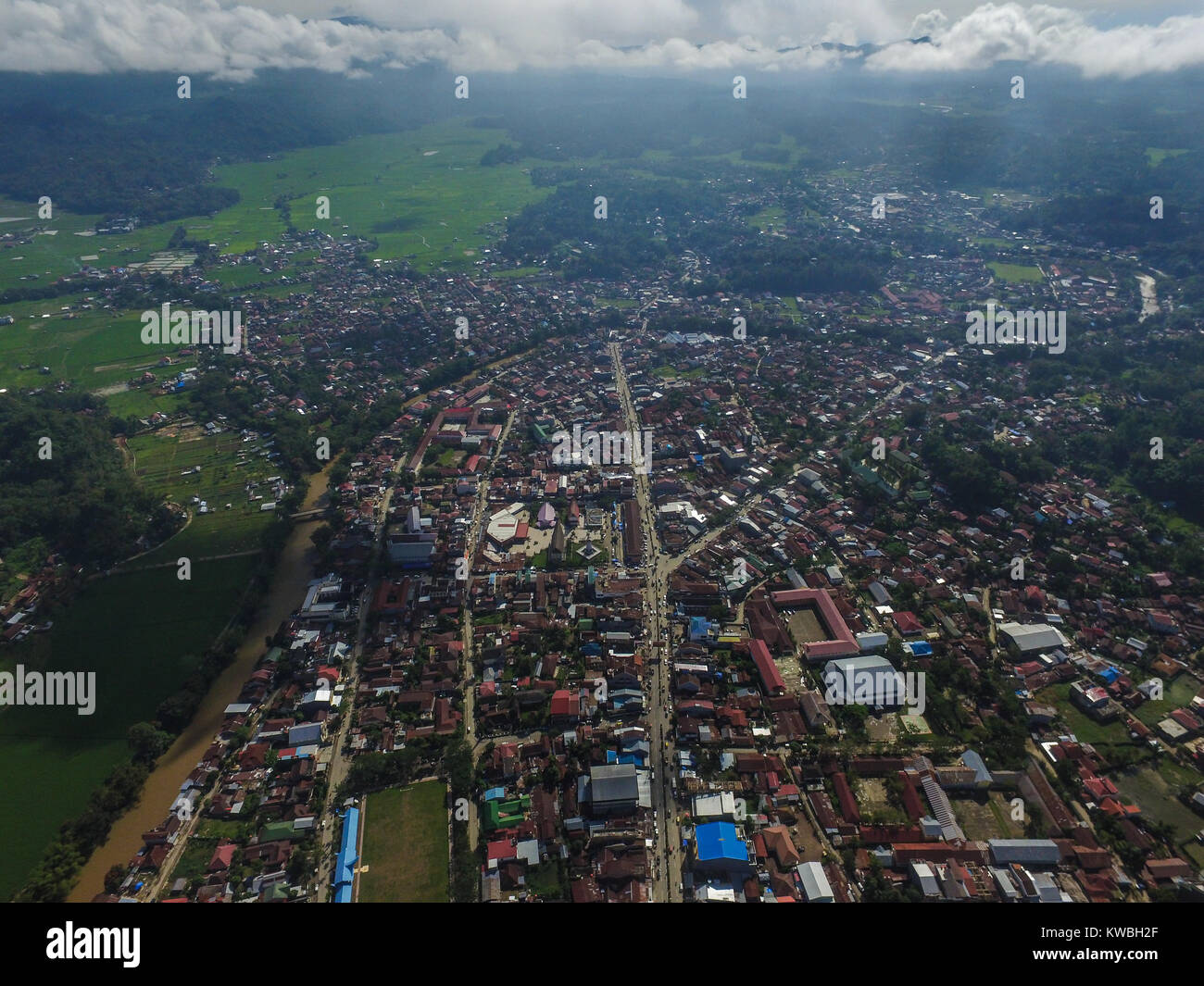 City of Rantepao from aerial drone point of view. - Stock Image