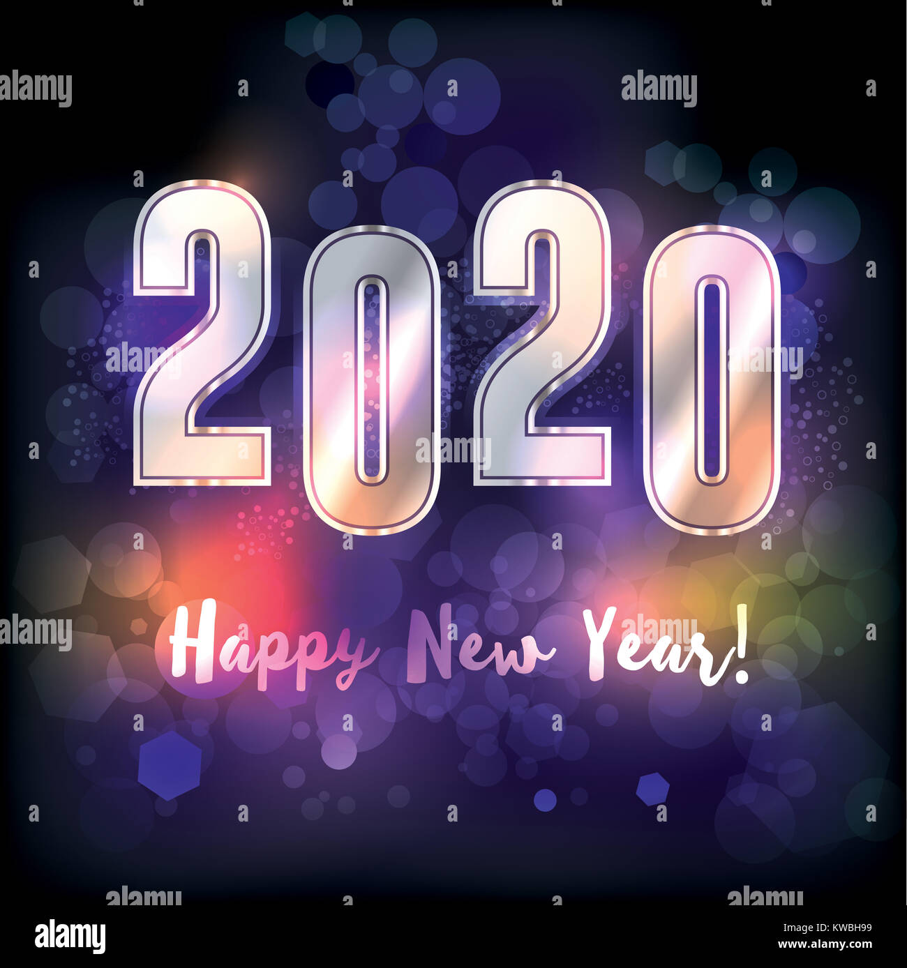 New Year 2020 Messages A happy new year 2020 New Year's message illustration. Vector EPS