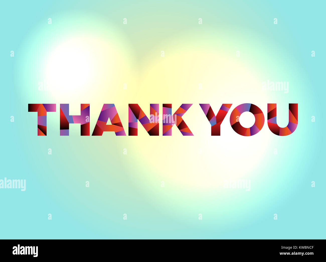 The words THANK YOU written in colorful abstract word art on a Stock