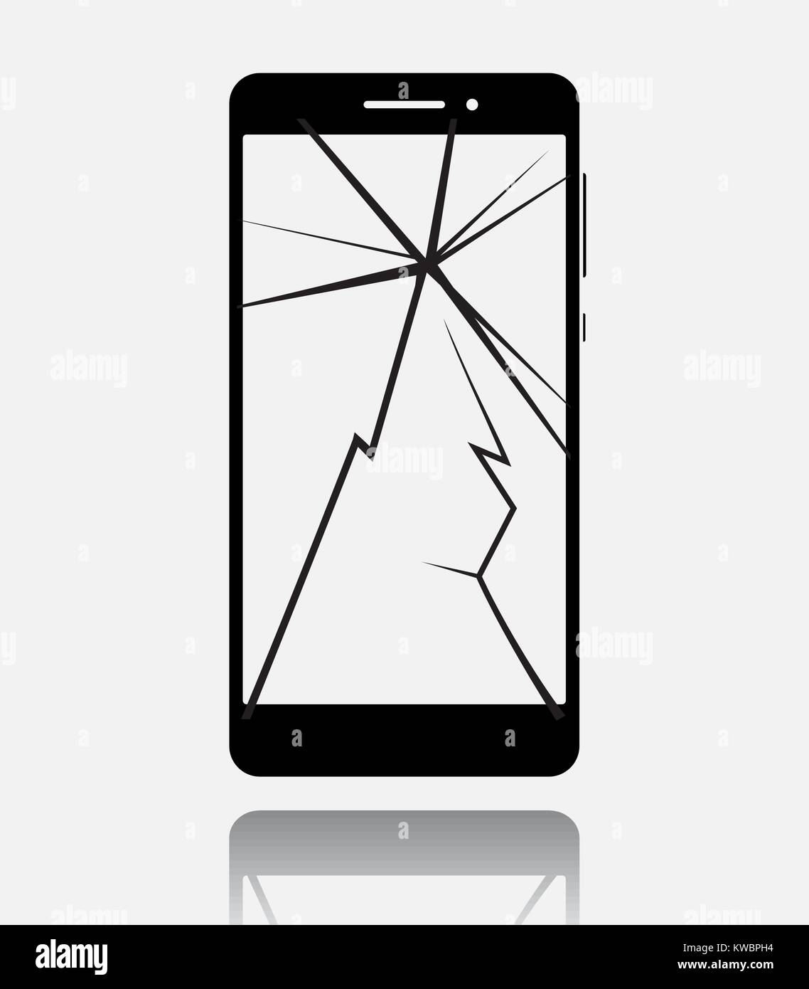 Broken smartphone with cracked touch screen, cell phone flat icon