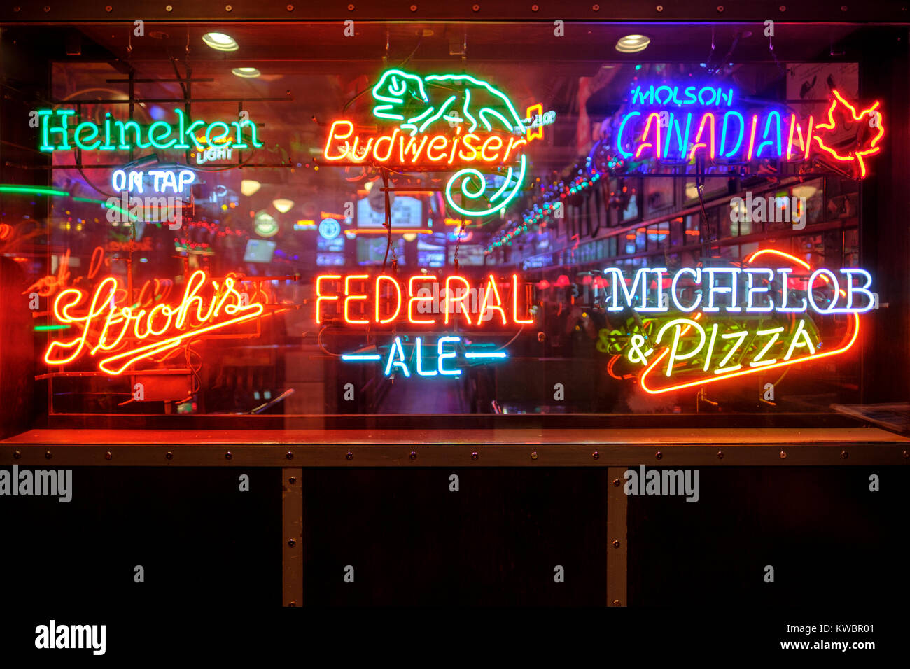 Beer Logos Neon Lights Advertising Decorating Front Entrance Of