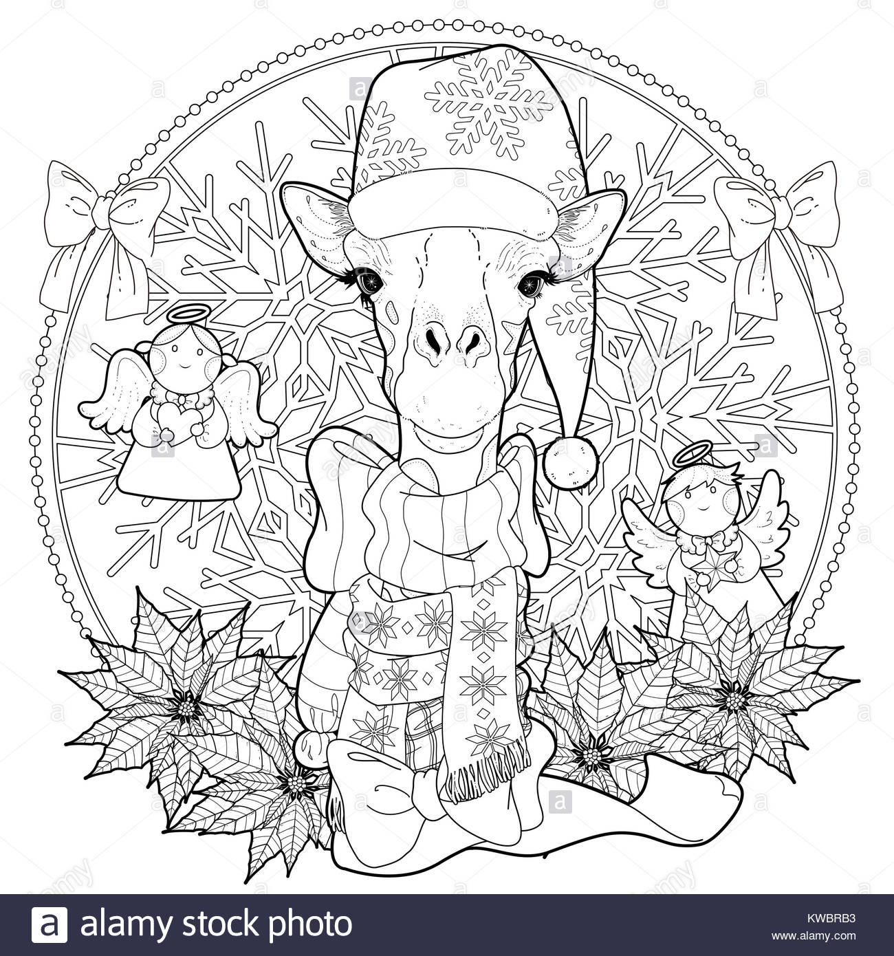 christmas giraffe coloring page with decorations in exquisite line