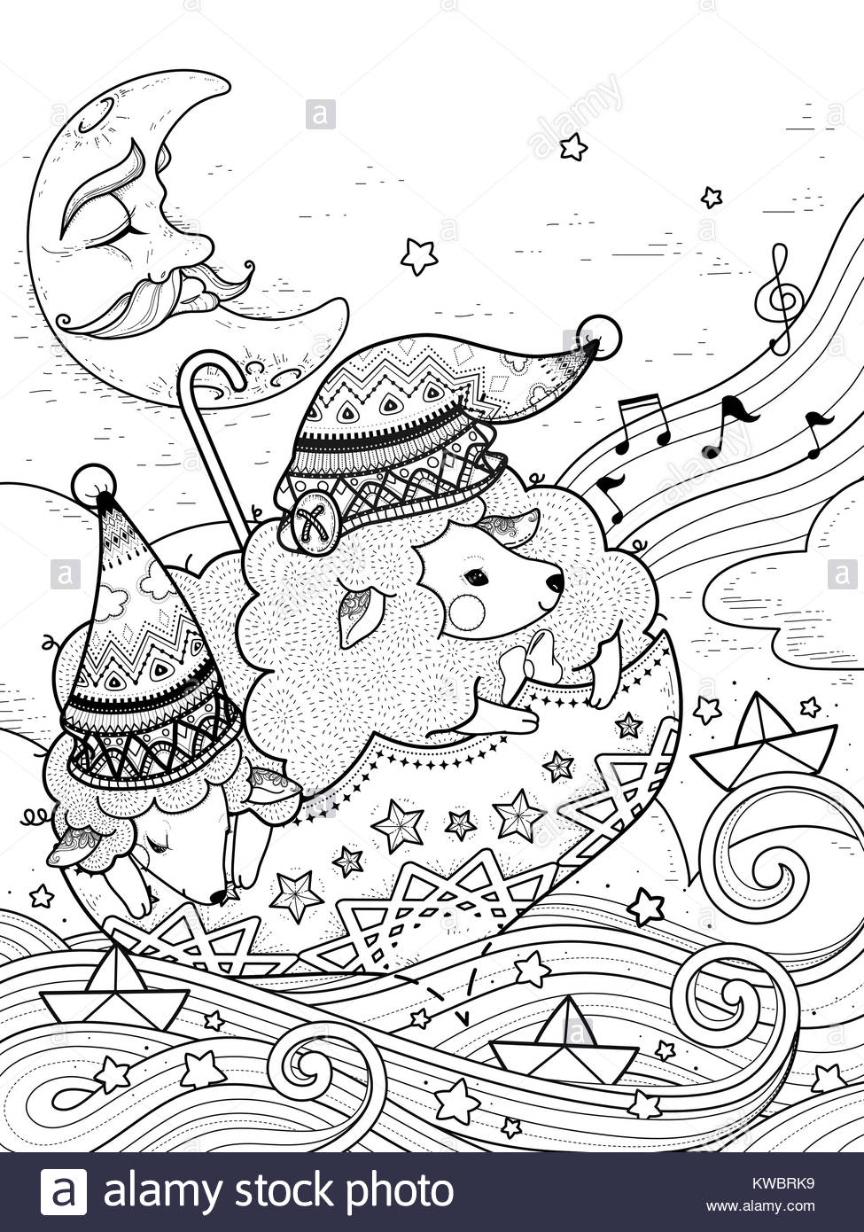 magic sheep float upon starry night - adult coloring page Stock ...