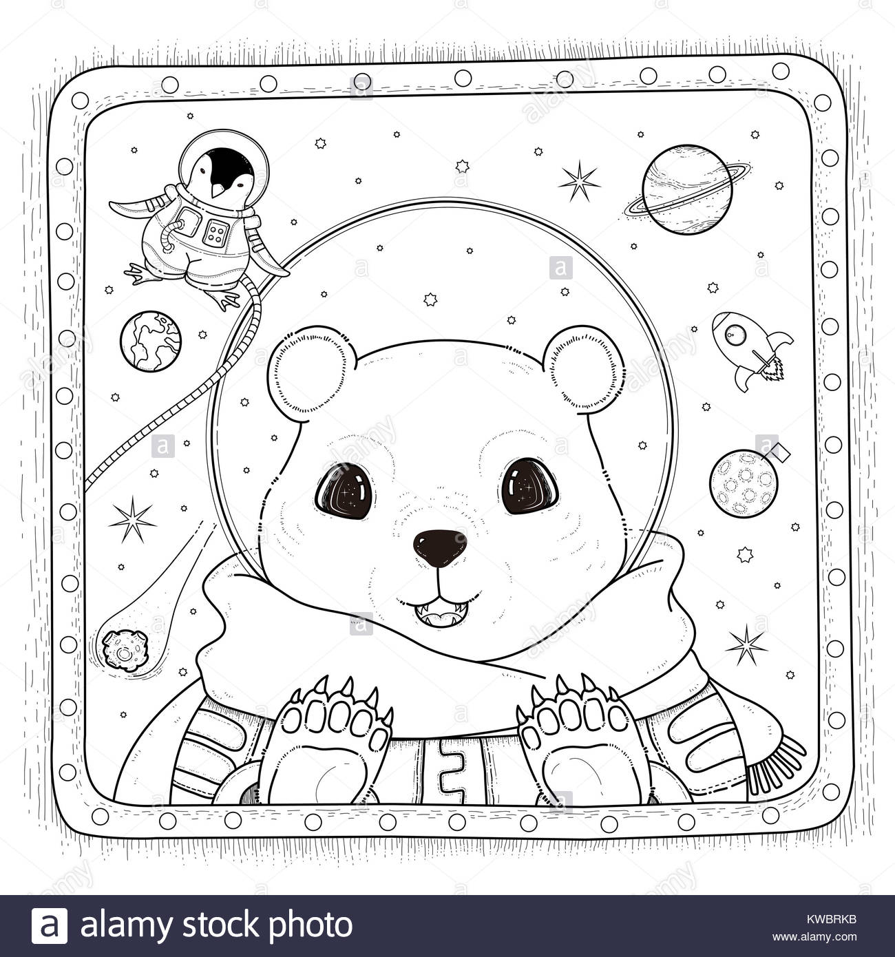 adorable polar bear astronaut - adult coloring page Stock Photo ...