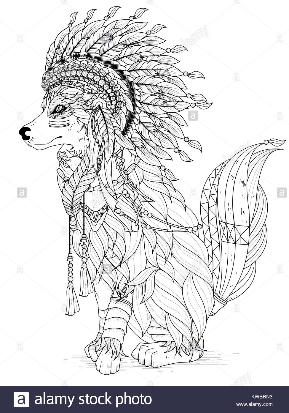 Lovely indian style wolf adult coloring page stock photo Colouring book for adults india