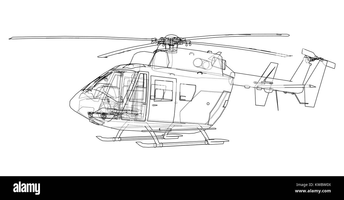 Outline drawing of helicopter Stock Vector Art & Illustration