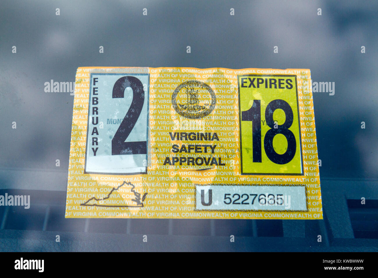A Virginia Safety Approval sticker from the Virginia Motor Vehicle Safety Inspection Program, United States. - Stock Image