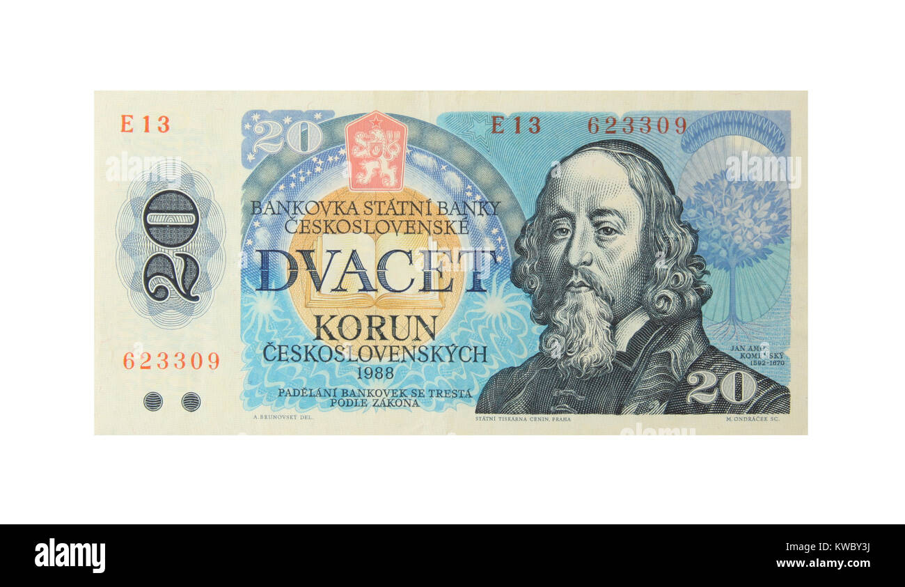 A 20 Korun bank note from the former Czeckslovakia - Stock Image