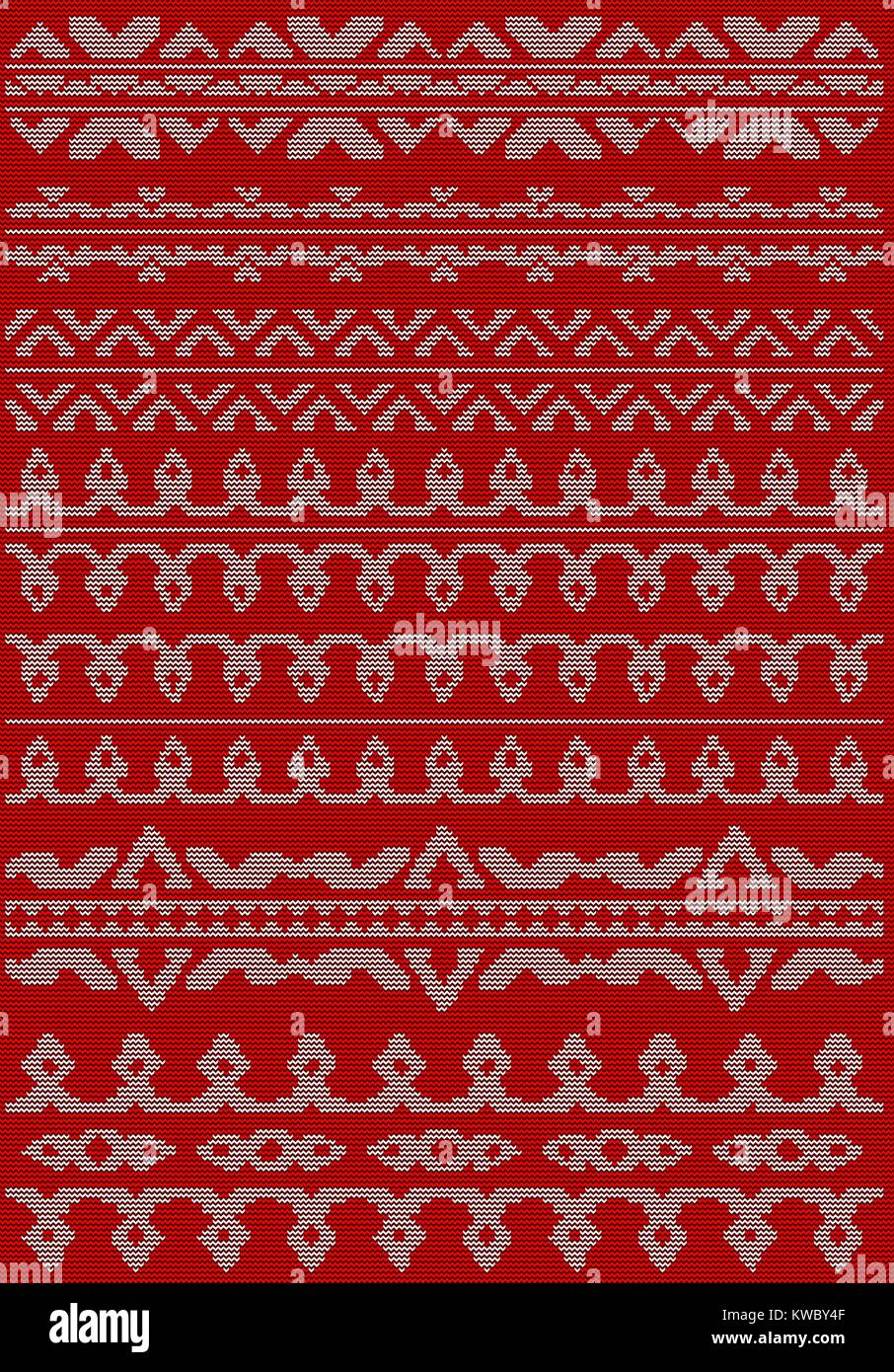 Knitting pattern ornate decorative lines. New year or Christmas sweater design. Wool knitted texture in red and - Stock Vector