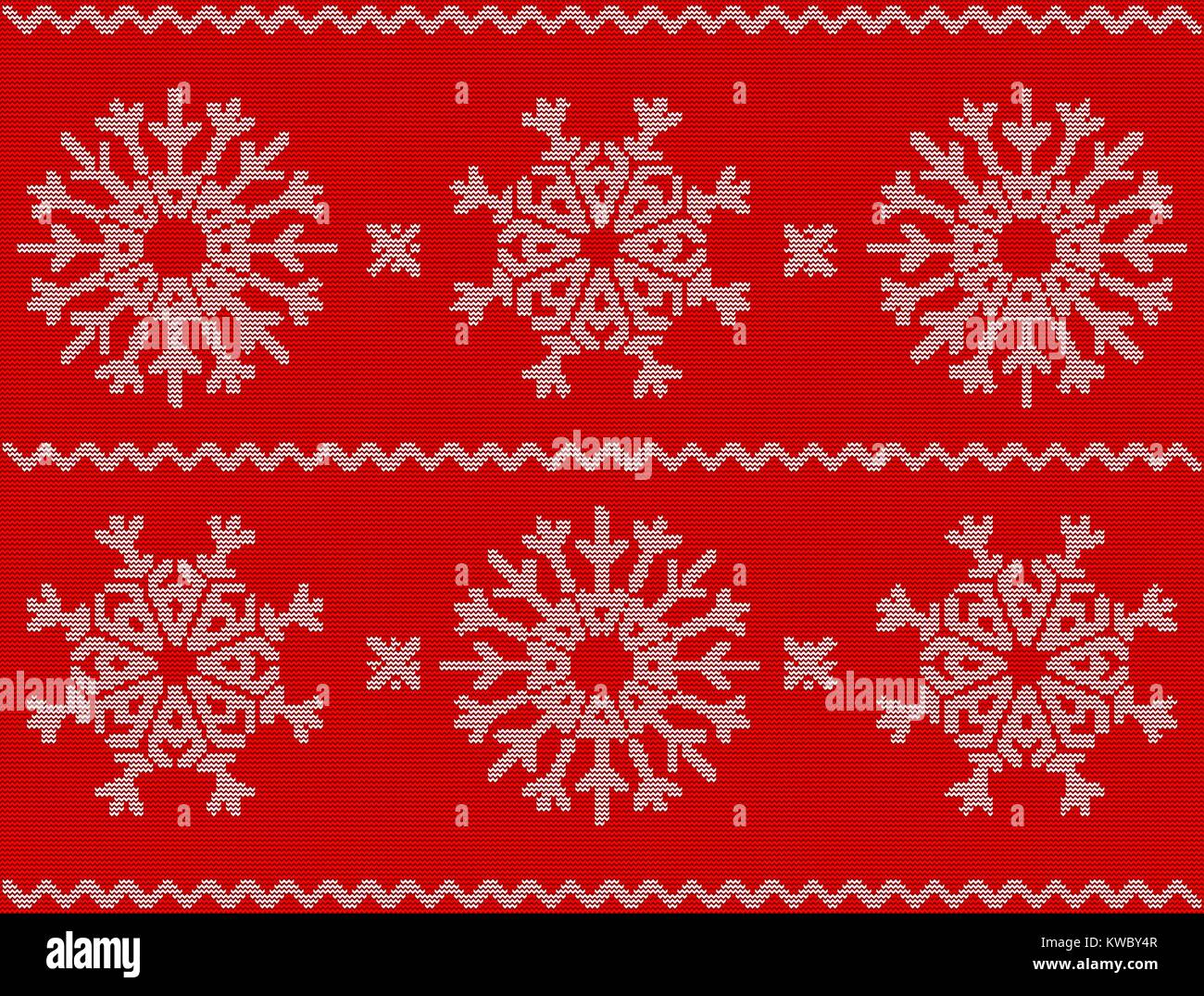 Christmas Sweater Background.Christmas Pattern With Snowflakes New Year Ornament On Red