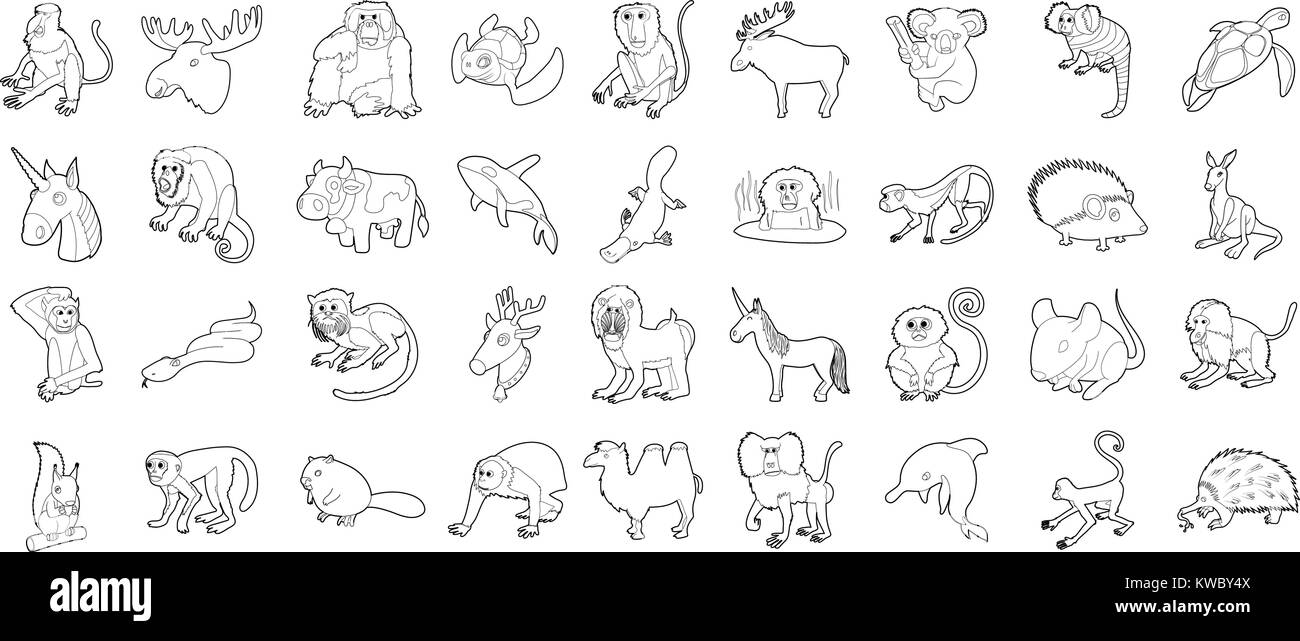 Animals icon set, outline style - Stock Image