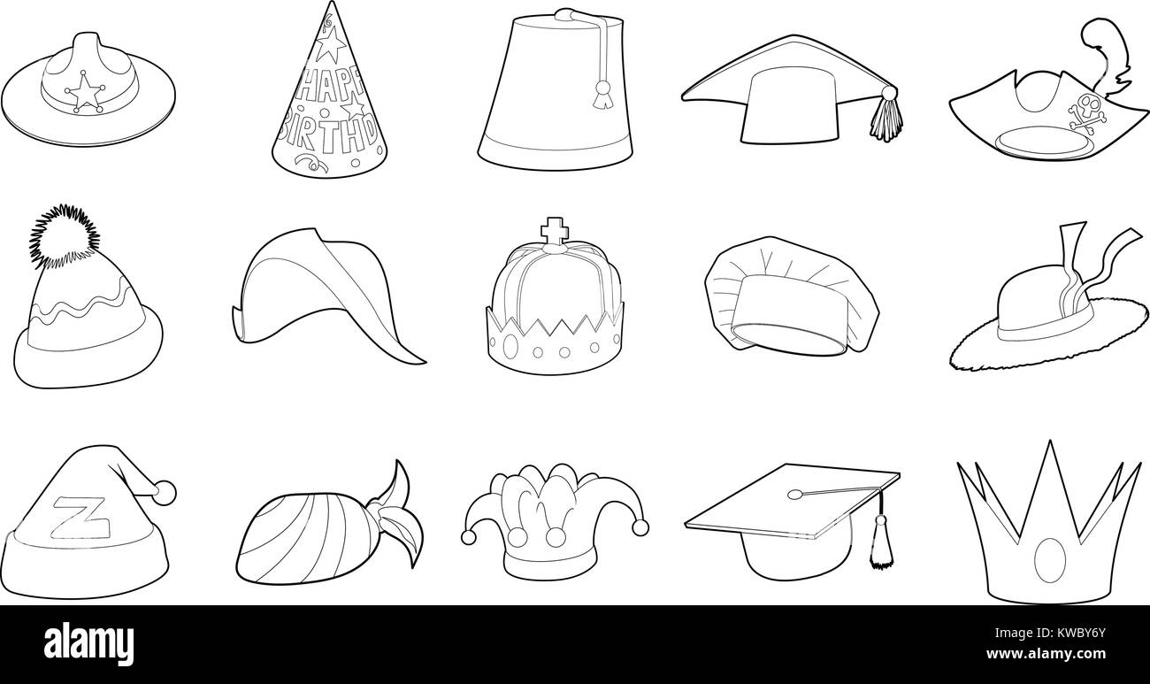 Hat icon set, outline style - Stock Image
