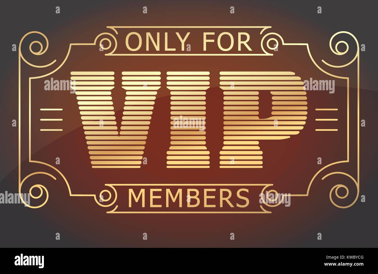 VIP only for members dark red and gold tones design. Vector illustration. - Stock Vector