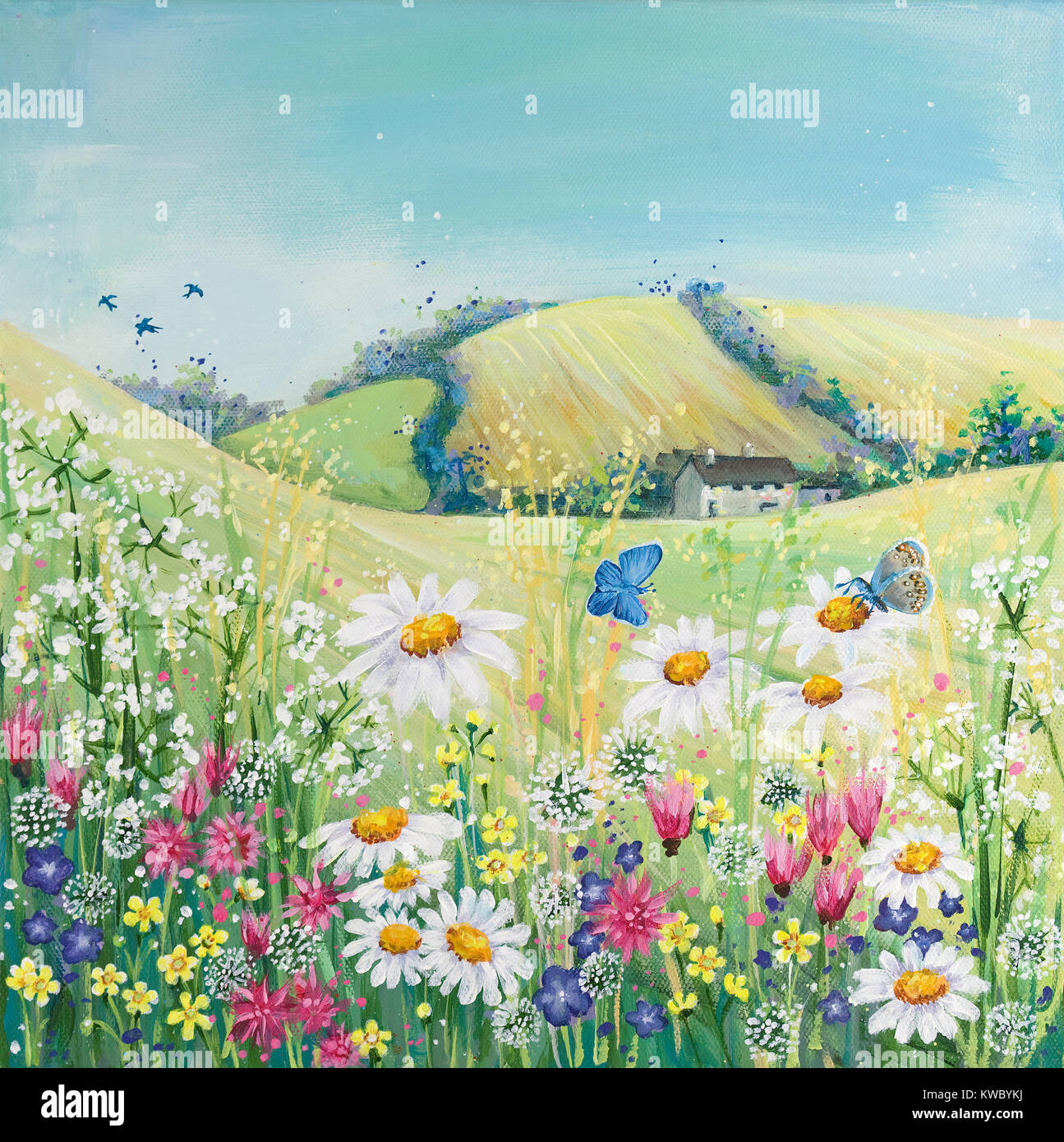 Wild Flowering Meadow Painting Stock Photo Alamy
