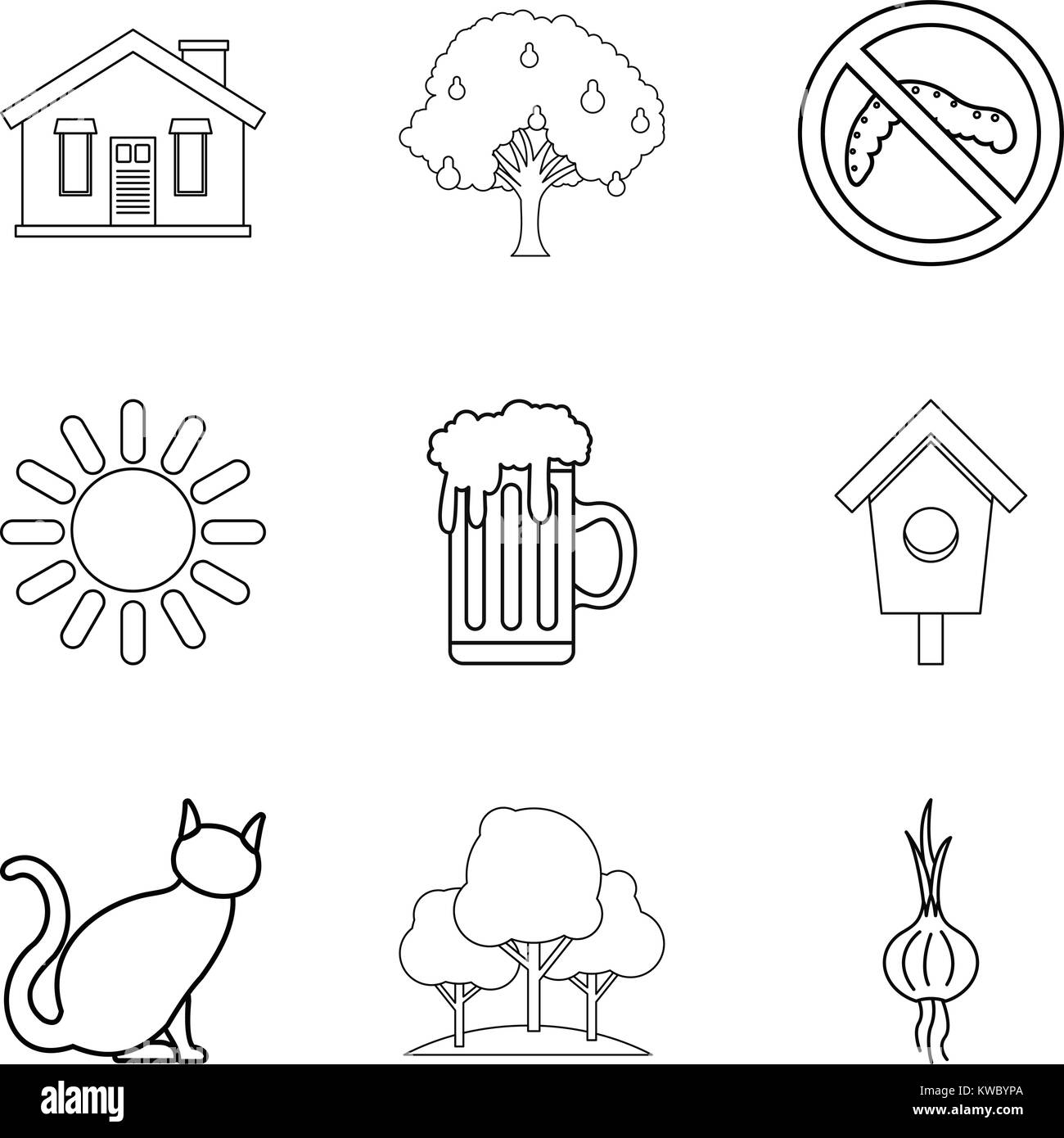 Hamlet icons set, outline style Stock Vector